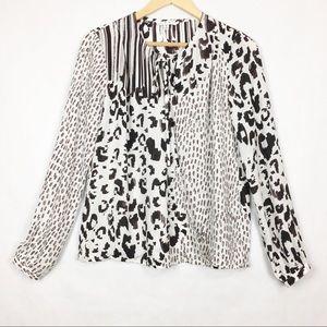 CAbi Animal Print Long Sleeve Wrap Blouse Size M